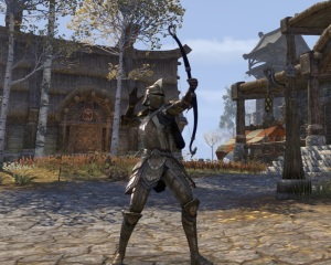 A newly crafted set of Breton armor for my Nord, courtesy of a guildmate.