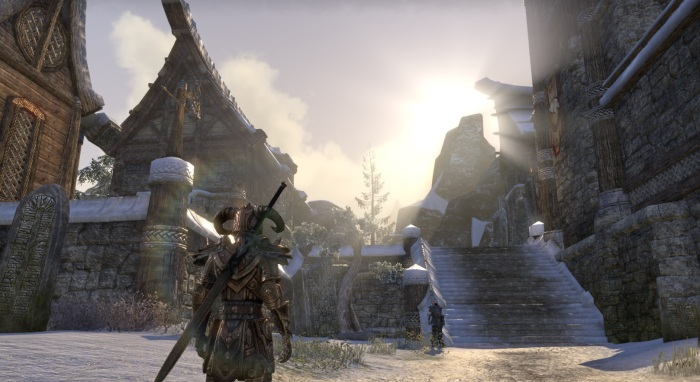 My heavy Templar in Windhelm. Within a few minutes, the sun had moved down to the right as it began to set, and the clear skies were replaced with a light snow.