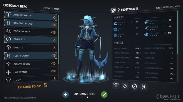 Here's a quick look at the pre-alpha character customization interface.